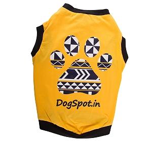 DogSpot Asymmetric Blue Print T- shirt-Size 14