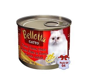Bellotta Gatto Tuna Chunks Mixed Tuna Flake in Gravy - 185 gm (Pack Of 4)