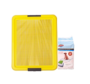 DogSpot Puppy Toilet Tray Yellow - (LxW - 20x16 inches) With Training Pads