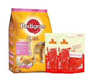 Pedigree Dog Food Puppy Chicken & Milk - 3 Kg  With Chicken Slices