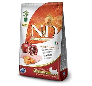 Farmina N&D Dry Dog Food Grain Free Pumpkin Chicken & Pomegranate Adult Mini Breed- 2.5 Kg (Pack Of 4)