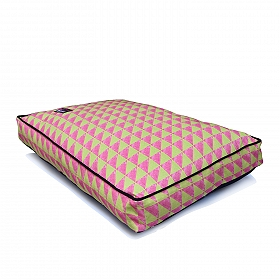 Mutt Of Course Water Color Pink & Green Flat Bed - Medium