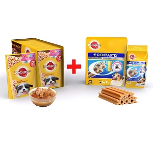 Pedigree Puppy Gravy Chicken & Rice 80gm ( 15 Pouch) + Dentastix Small Breed 440gm ( 28 Sticks)
