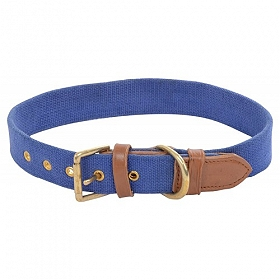 DogSpot Handcrafted Canvas Collar 20 mm Blue -Small & Medium