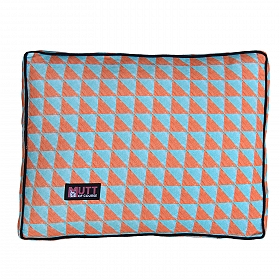 Mutt Of Course Water Color Rust & Blue Flat Bed - Large