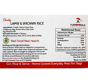 FurrMeals Chunky Lamb & Brown Rice Home cooked Adult Dog Food - 1 kg