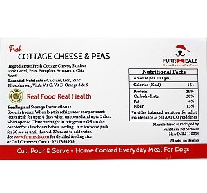 FurrMeals Fresh Cottage Cheese & Peas Home cooked Adult Dog Food - 3 kg