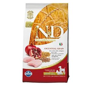 Farmina N&D Dry Dog Food Chicken & Pomegranate Adult Light Medium & Maxi Breed - 2.5 Kg (Pack Of 4)