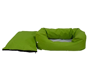 DogSpot Lounger Bed Green & Black - Small - (LxWxH - 22x14x8) Inches