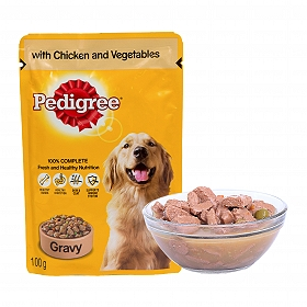 pedigree adult gravy with chicken vegetable pouch 100 gm pack of 12 dogspot online pet. Black Bedroom Furniture Sets. Home Design Ideas