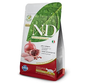 Farmina N&D Dry Cat Food Grain Free Chicken & Pomegranate Adult Neautered Cat - 5 Kg (Pack Of 2)