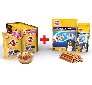 Pedigree Puppy Gravy Chicken & Rice 80gm ( 15 Pouch) + Dentastix Large Breed 1.08Kg ( 28 Sticks)
