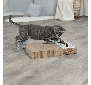 Trixie Cat Scratching Cardboard with Toys - White