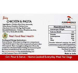 FurrMeals Juicy Chicken Pasta Home cooked Adult Dog Food - 3 kg