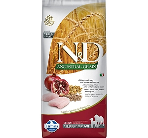 Farmina N&D Dry Dog Food Chicken & Pomegranate Senior Medium & Maxi Breed - 2.5 Kg (Pack Of 4)