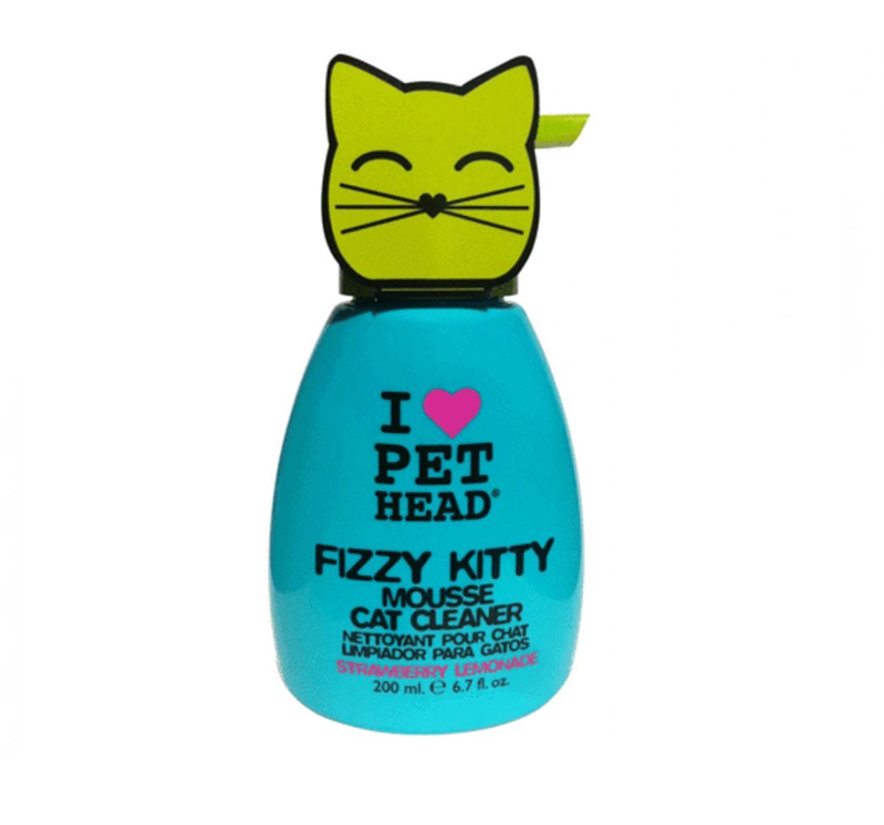 Pet Head Cat Fizzy Kitty Strawberry Lemonade Mousse Cat Cleaner - 200ml