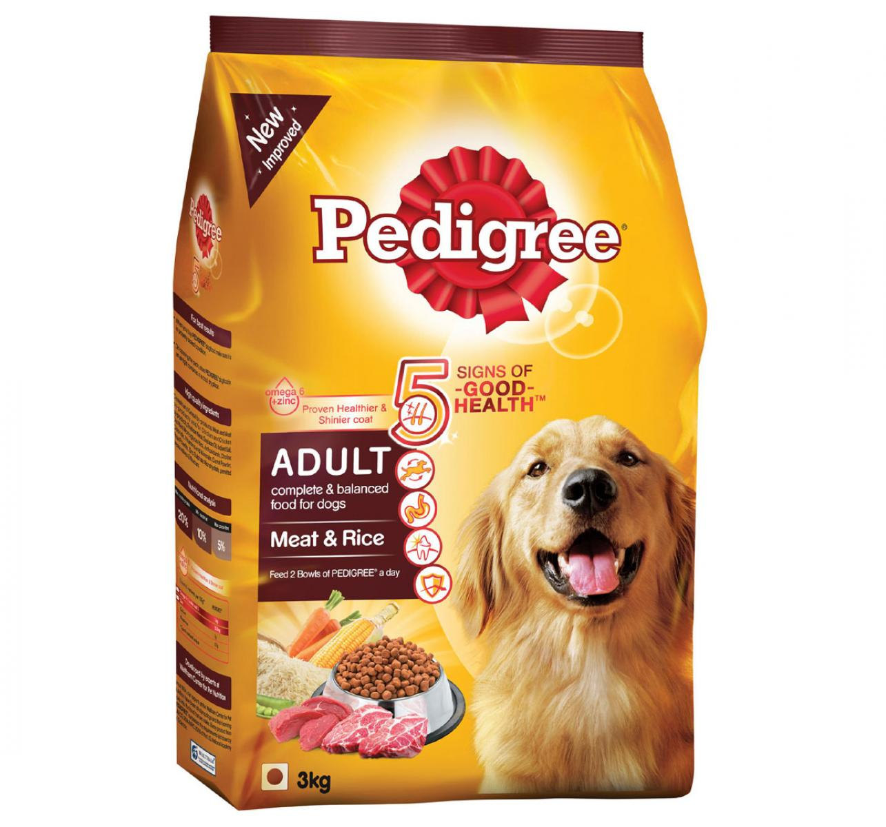 Pedigree Adult Dog Food Meat & Rice - 3 Kg