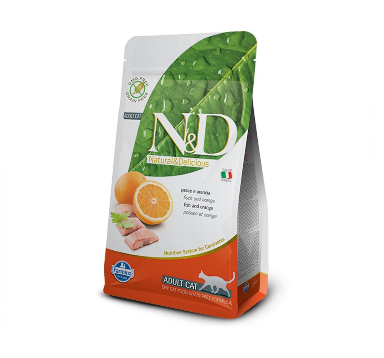 Natural & Delicious Grain Free Fish & Orange Adult Cat - 1.5 Kg