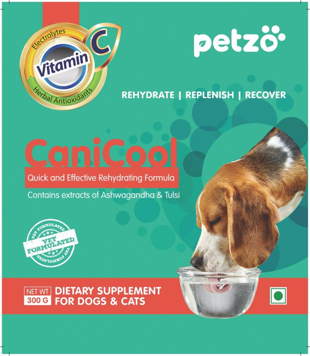 Petzo Canicool Re-Hydration & Anti Stress supplement (ORS Replacer) Chicken Flavor - 300 gm
