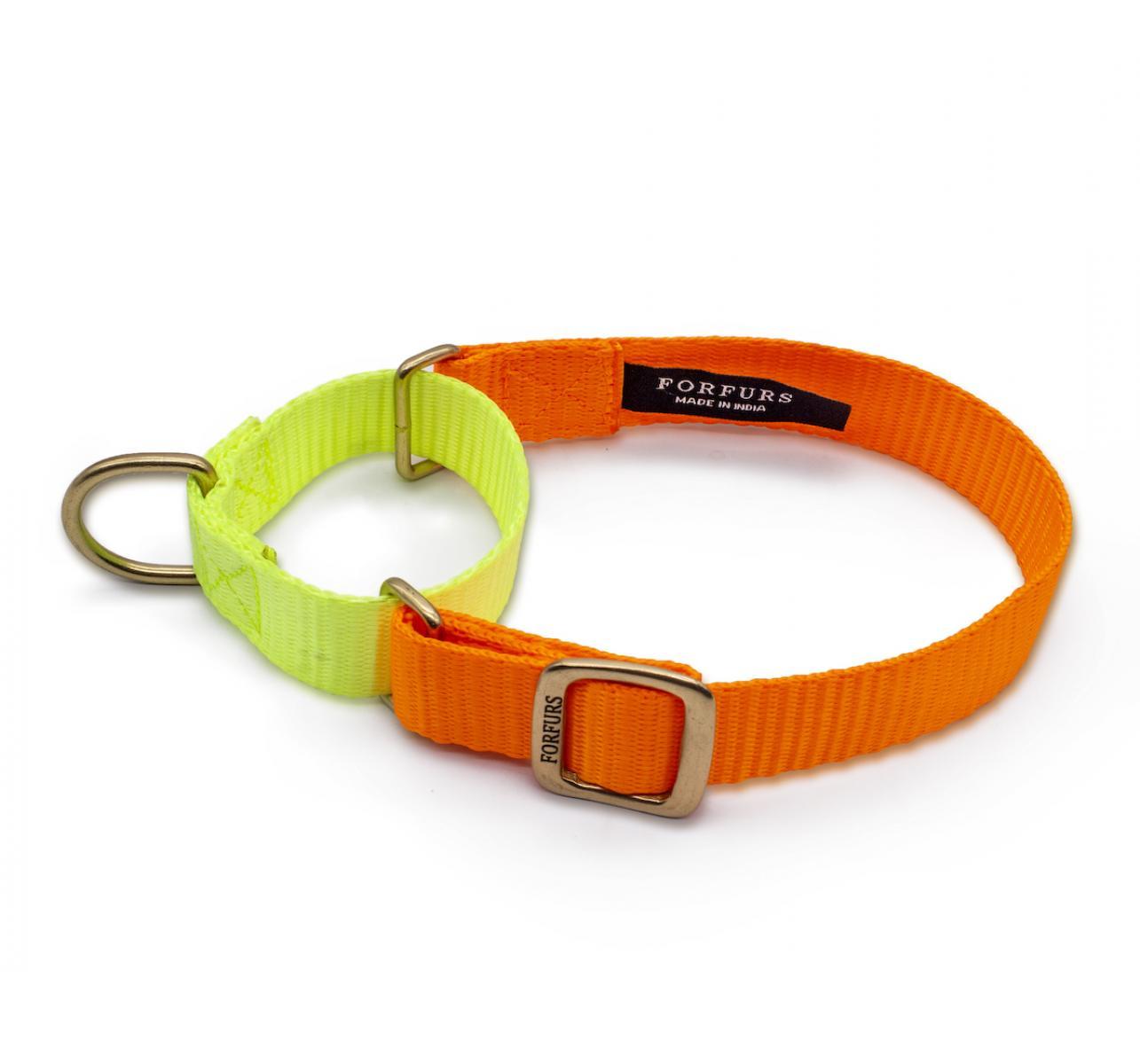 Forfurs Duo Martingale Collar Neon Orange & Lime Green - Large