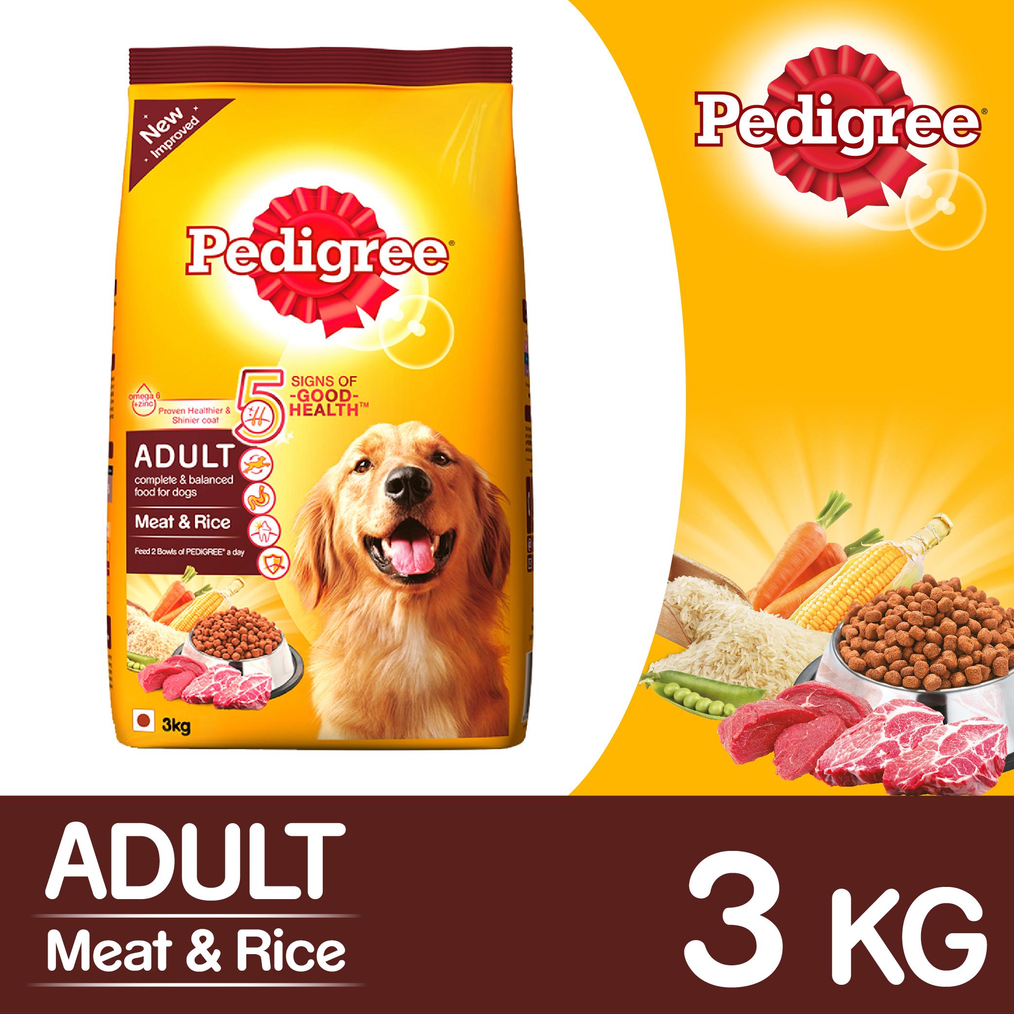 Pedigree Adult Dog Food Meat & Rice - 3 Kg