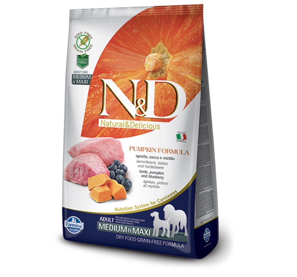 Farmina N&D Dry Dog Food Grain Free Pumpkin Lamb & Blueberry Adult Medium & Maxi Breed- 12 Kg