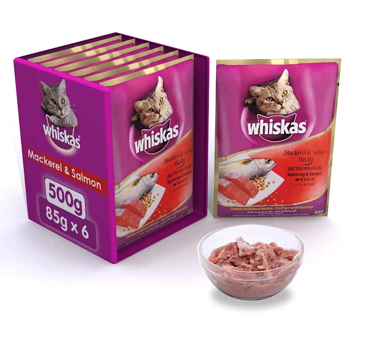 Whiskas Adult Cat Food Mackrel & Salmon - 85 gram (Pack Of 6)