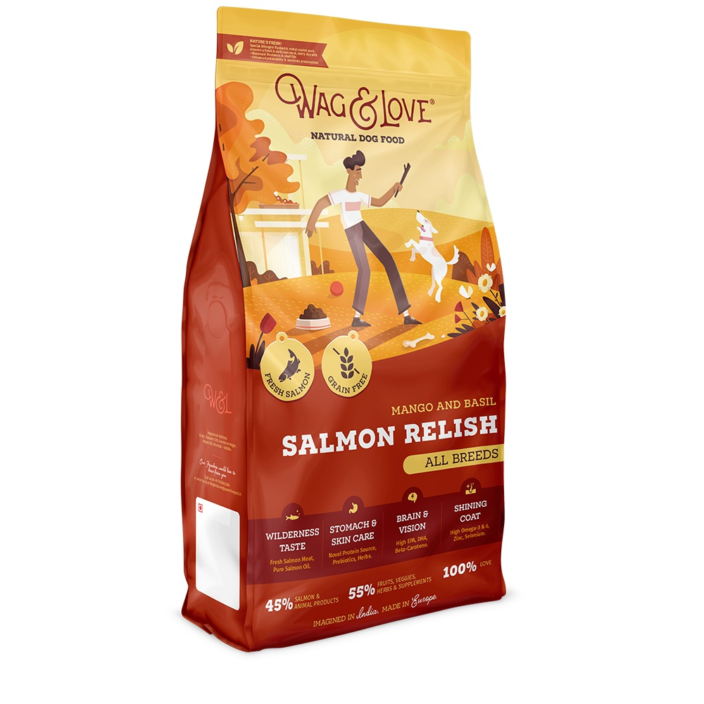 Wag & Love Grain Free Salmon Relish All Age & Breed Mango & Basil  - 15 Kg