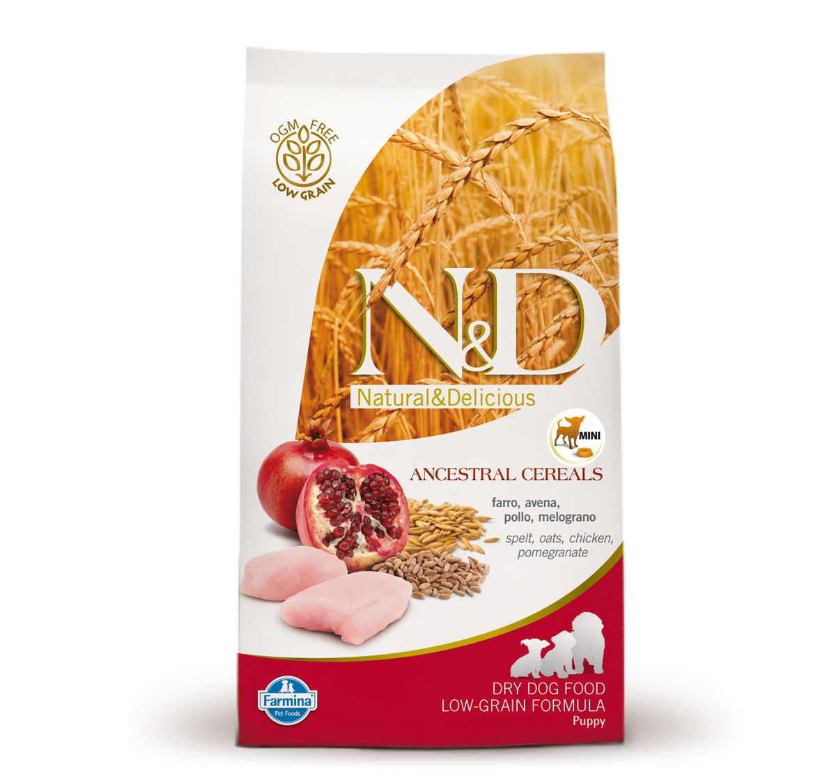 Farmina N&D Dry Dog Food Chicken & Pomegranate Puppy Mini Breed - 2.5 kg (Pack Of 4)