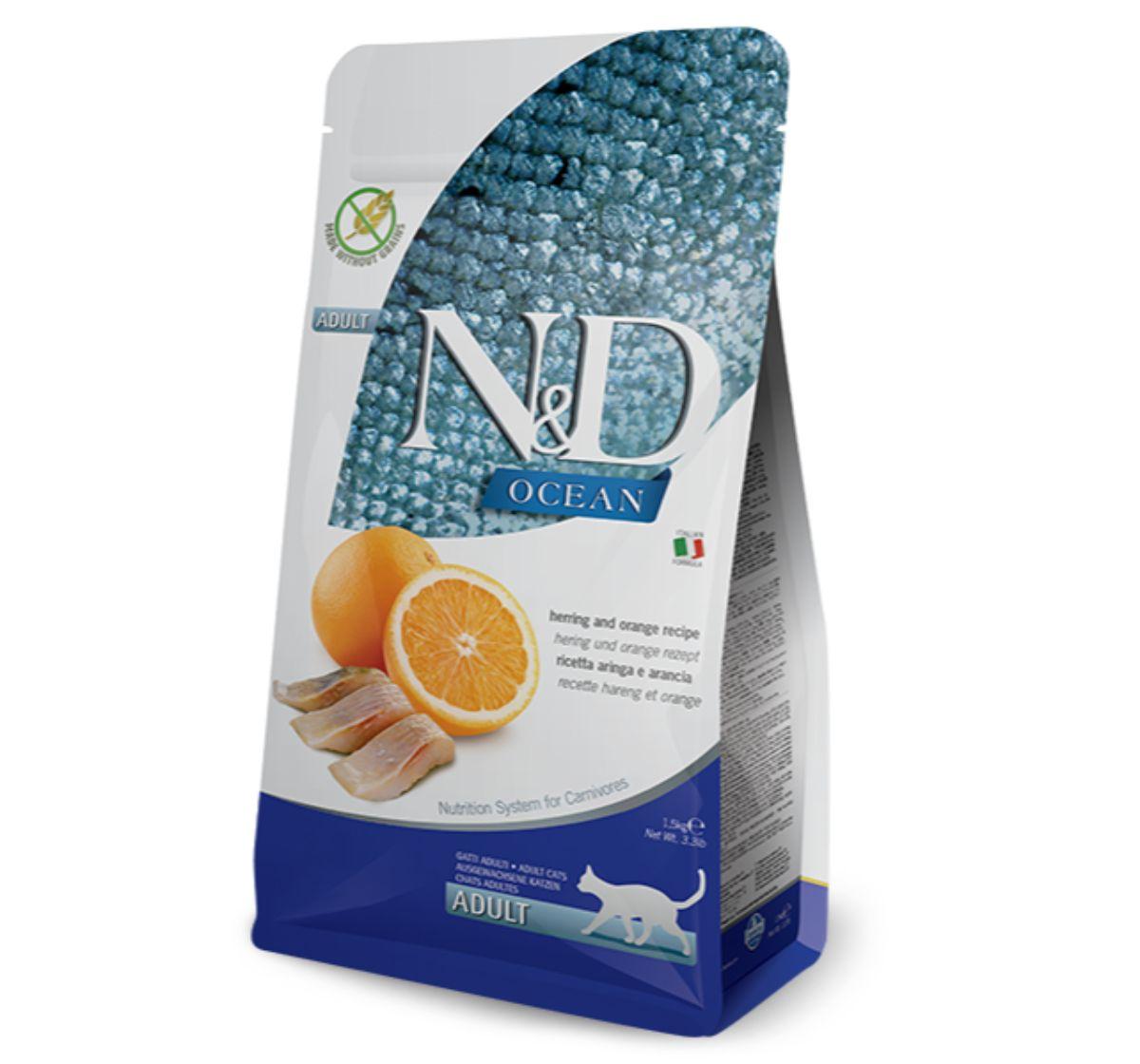 Farmina N&D Dry Cat Food Ocean Herring & Orange Adult - 1.5 Kg (Pack Of 8)