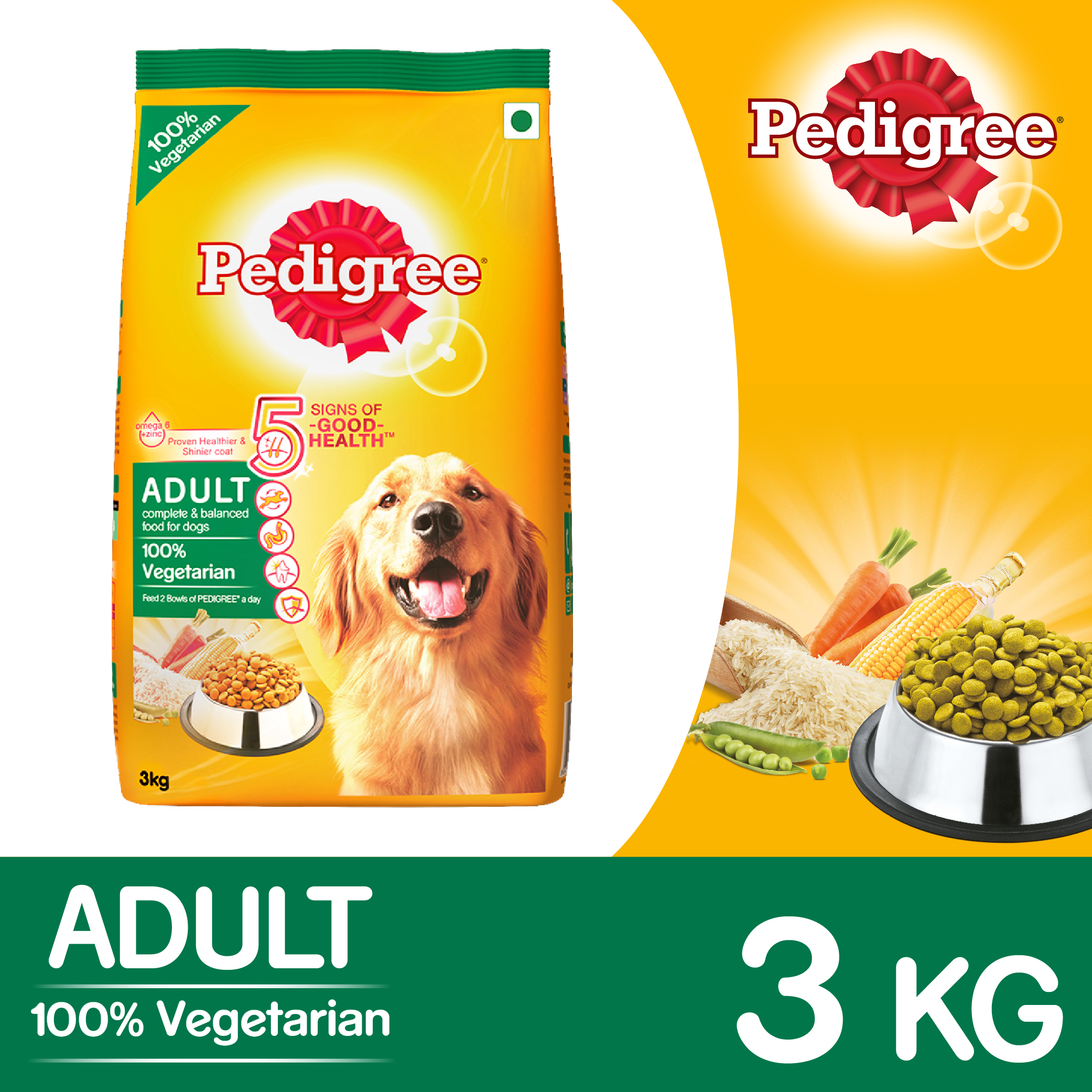 pedigree dog food adult 100 vegetarian 3 kg dogspot online pet supply store. Black Bedroom Furniture Sets. Home Design Ideas