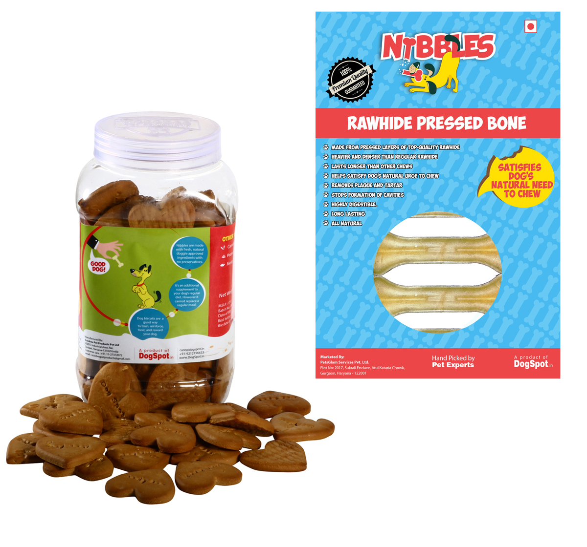 Nibbles Mutigrain & Oats biscuit - 500 gm with Rawhide Bone 4 Inches - 4 pieces