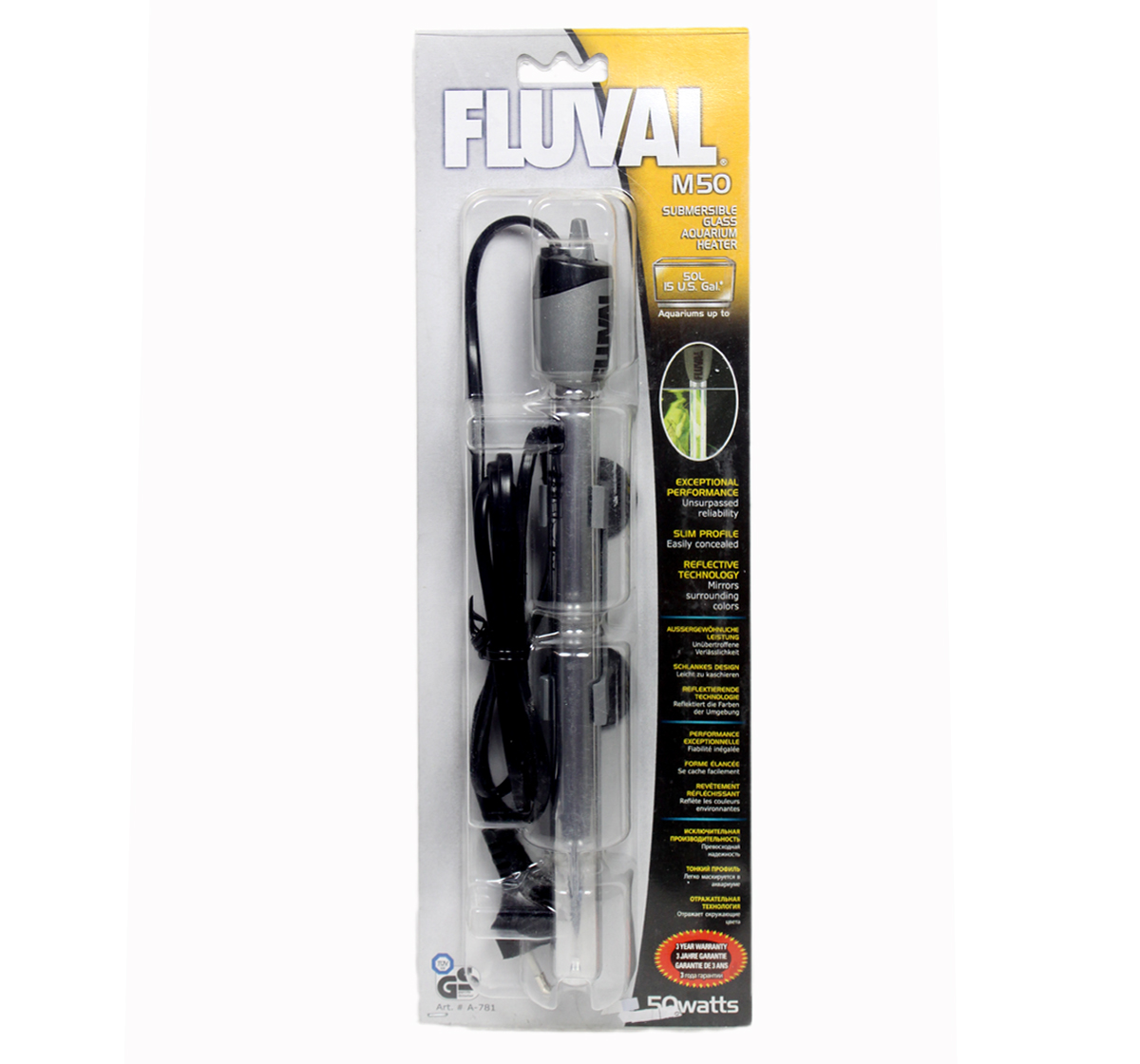 Submersible Water Heater For Turtles : Fluval Submersible Heater - M50 50 Watts Aquarium Heater Fluval ...