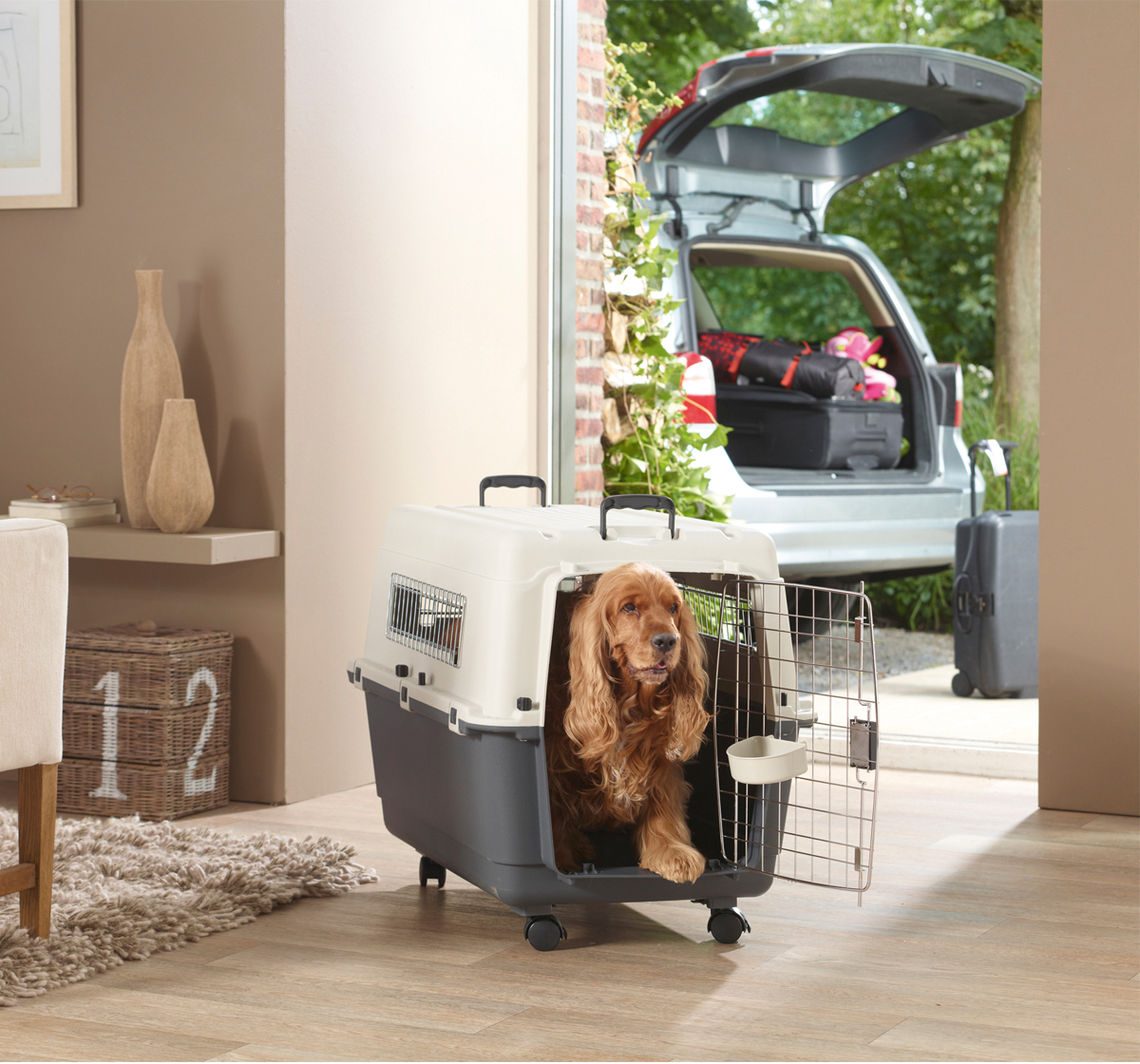 Savic Andes Dog Carrier 6 - Dark grey/Ivory - XX-Large - (LxWxH - 90x60.9x68.5 cm)
