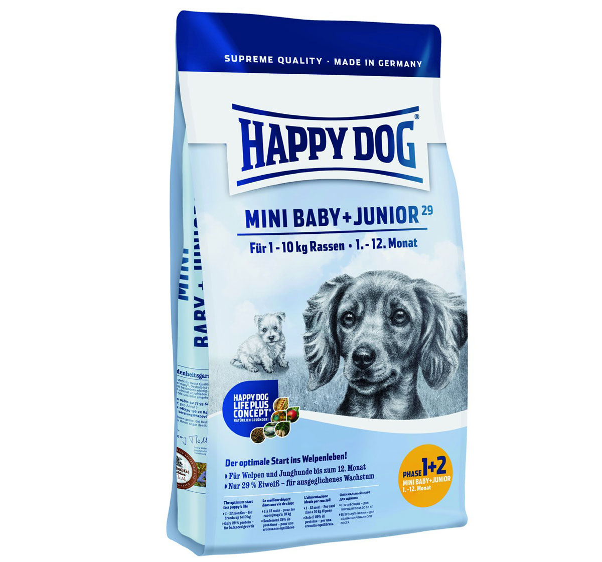happy dog mini breed baby and junior dog food 1 kg dogspot online pet supply store. Black Bedroom Furniture Sets. Home Design Ideas