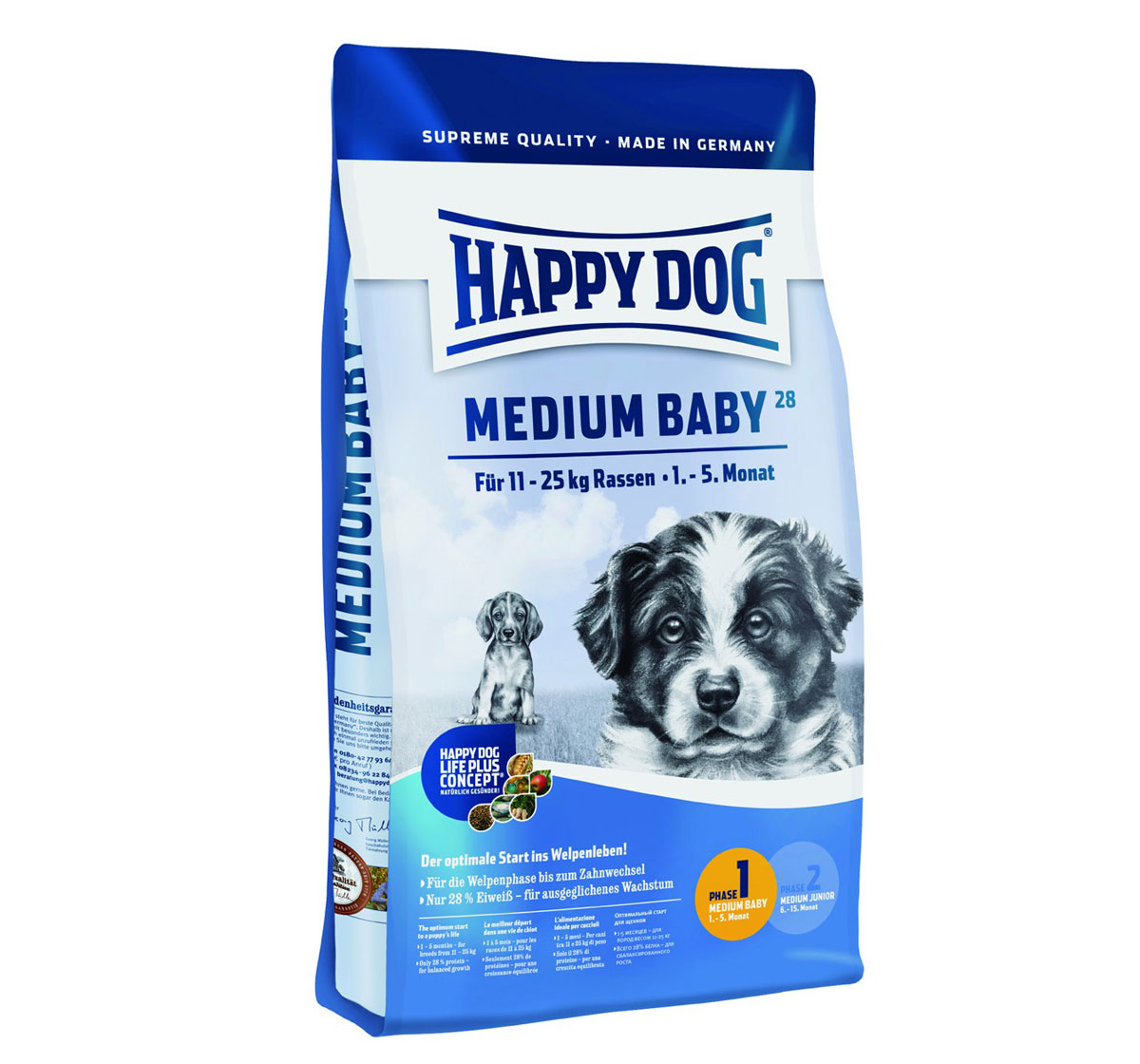 happy dog medium breed baby dog food 4 kg dogspot online pet supply store. Black Bedroom Furniture Sets. Home Design Ideas