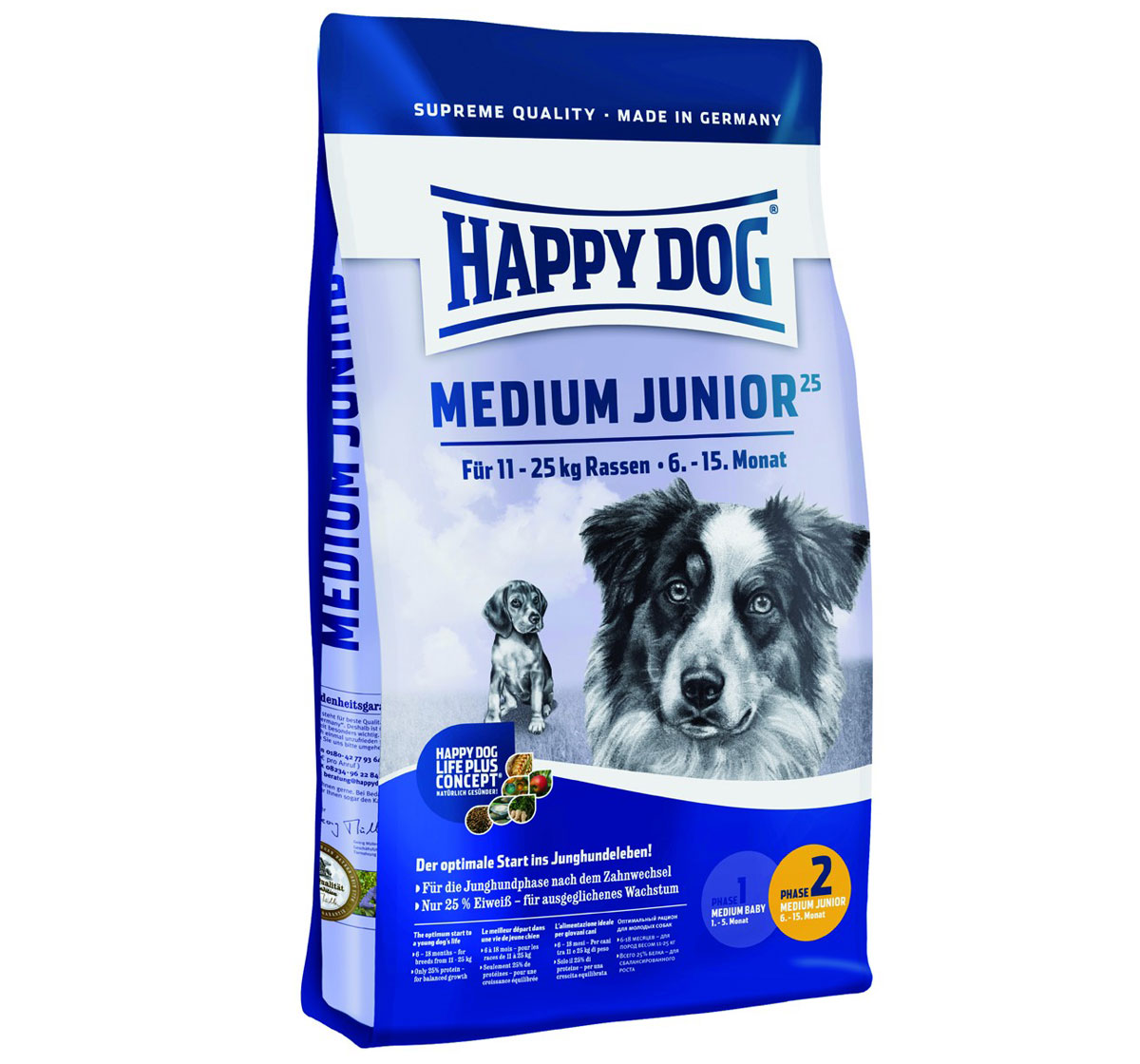 happy dog medium breed junior dog food 10 kg dogspot online pet supply store. Black Bedroom Furniture Sets. Home Design Ideas