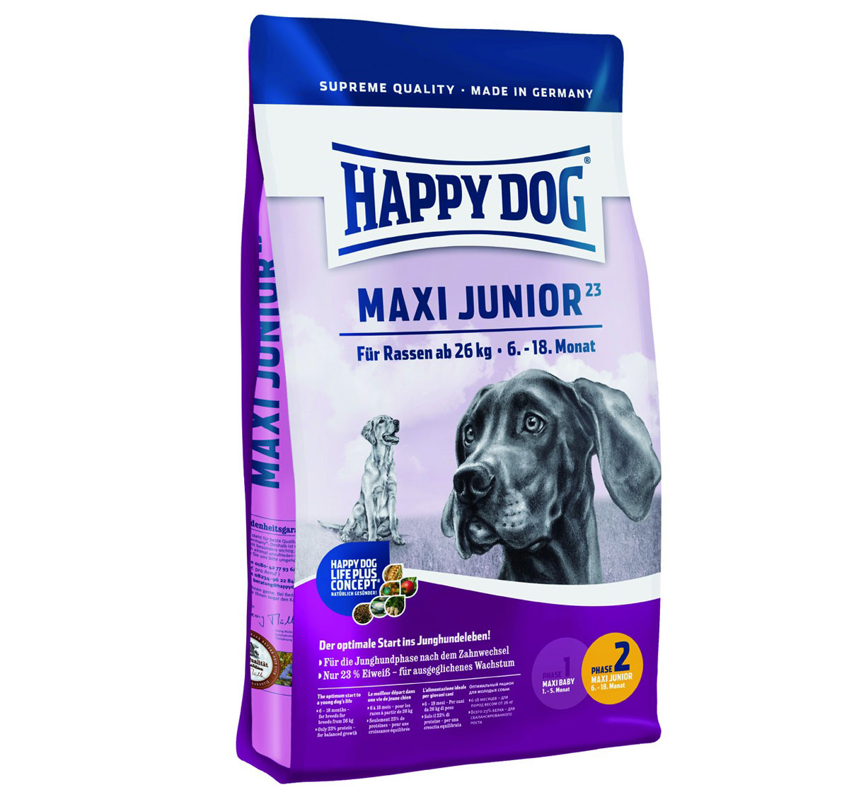 happy dog maxi breed junior dog food 4 kg dogspot online pet supply store. Black Bedroom Furniture Sets. Home Design Ideas