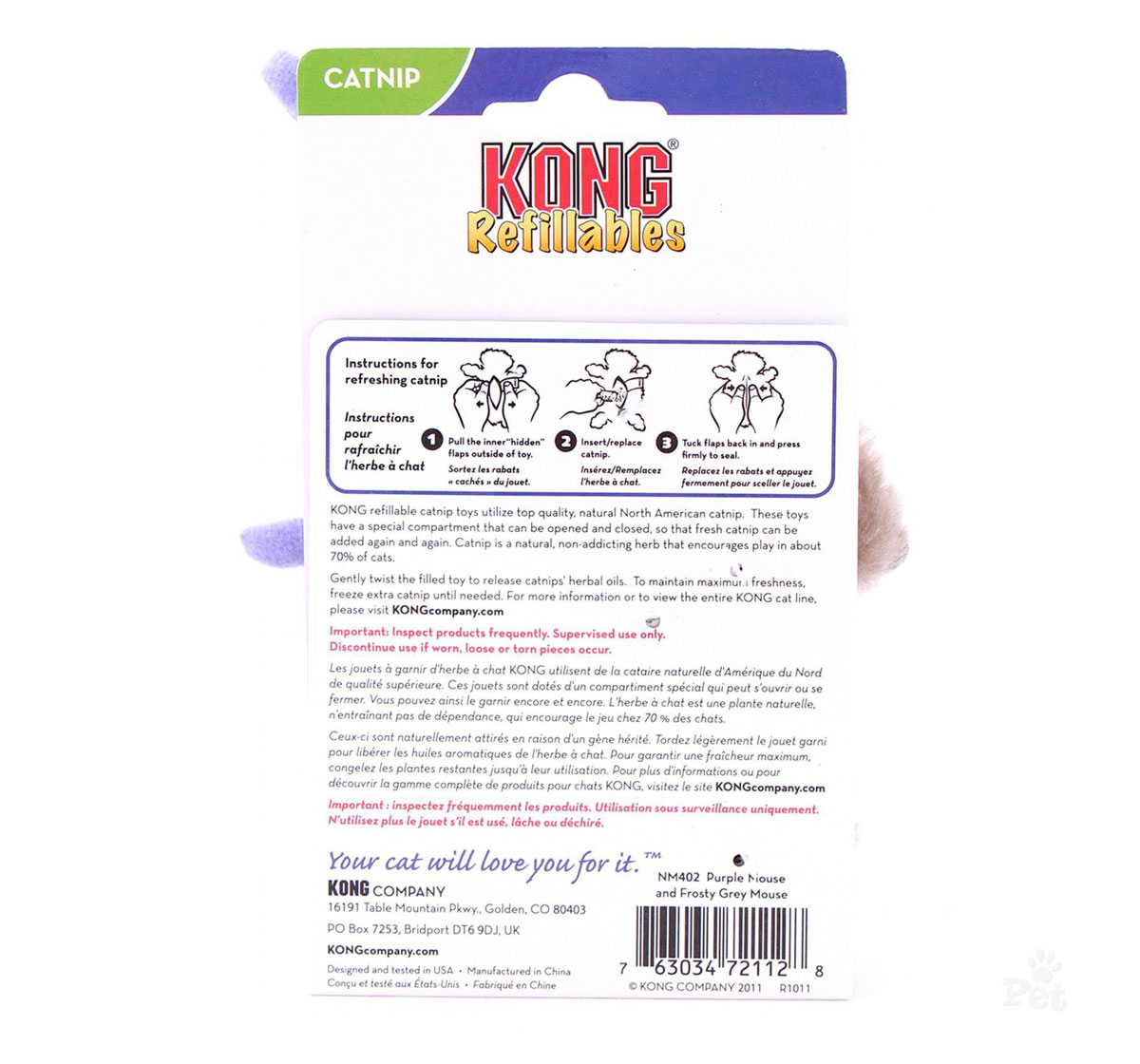 KONG Purple Mouse & Frosty Grey Mouse Cat Toy