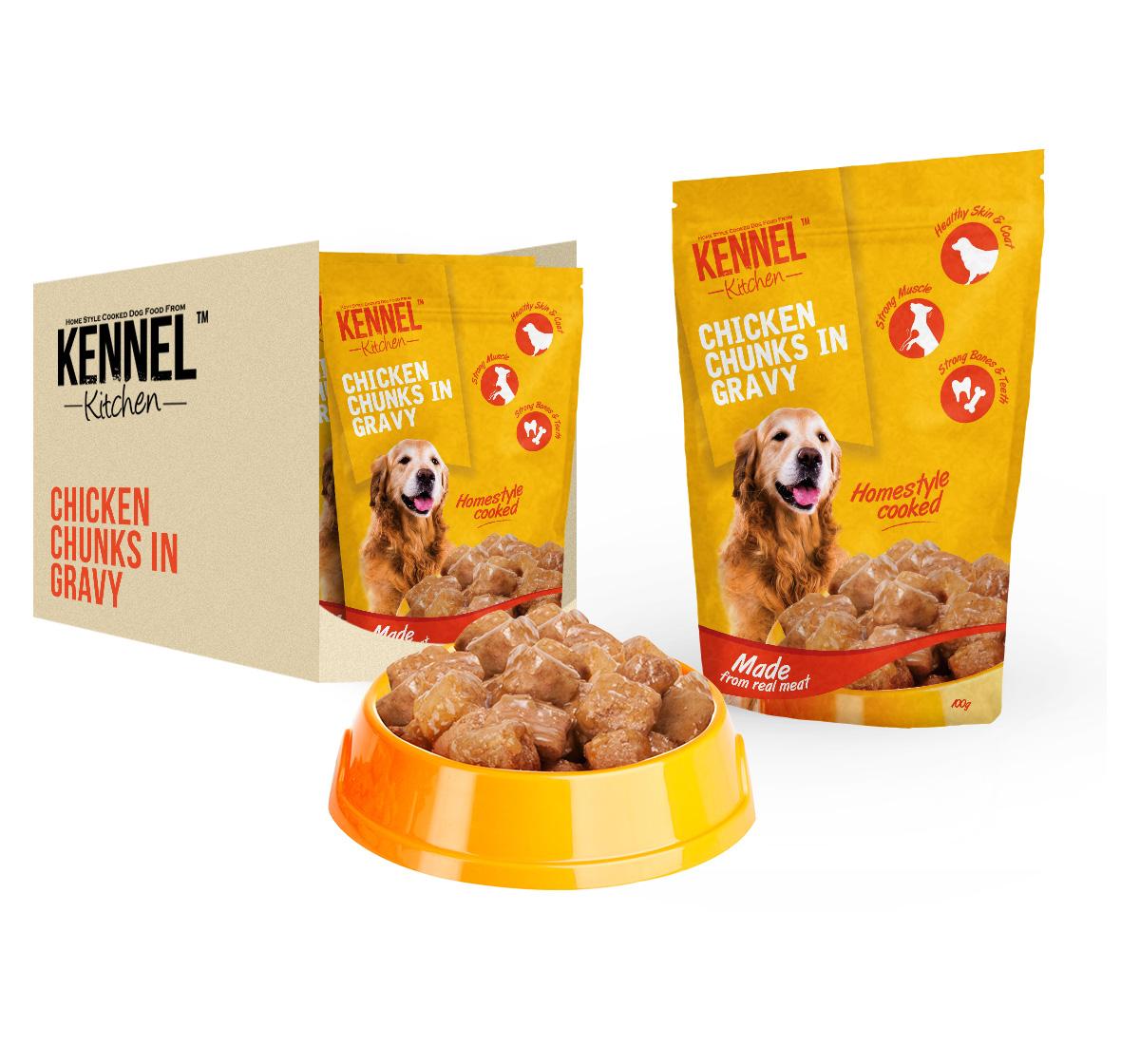 Kennel Kitchen Chicken Chunks In Gravy - 100 gm (30 Packs)