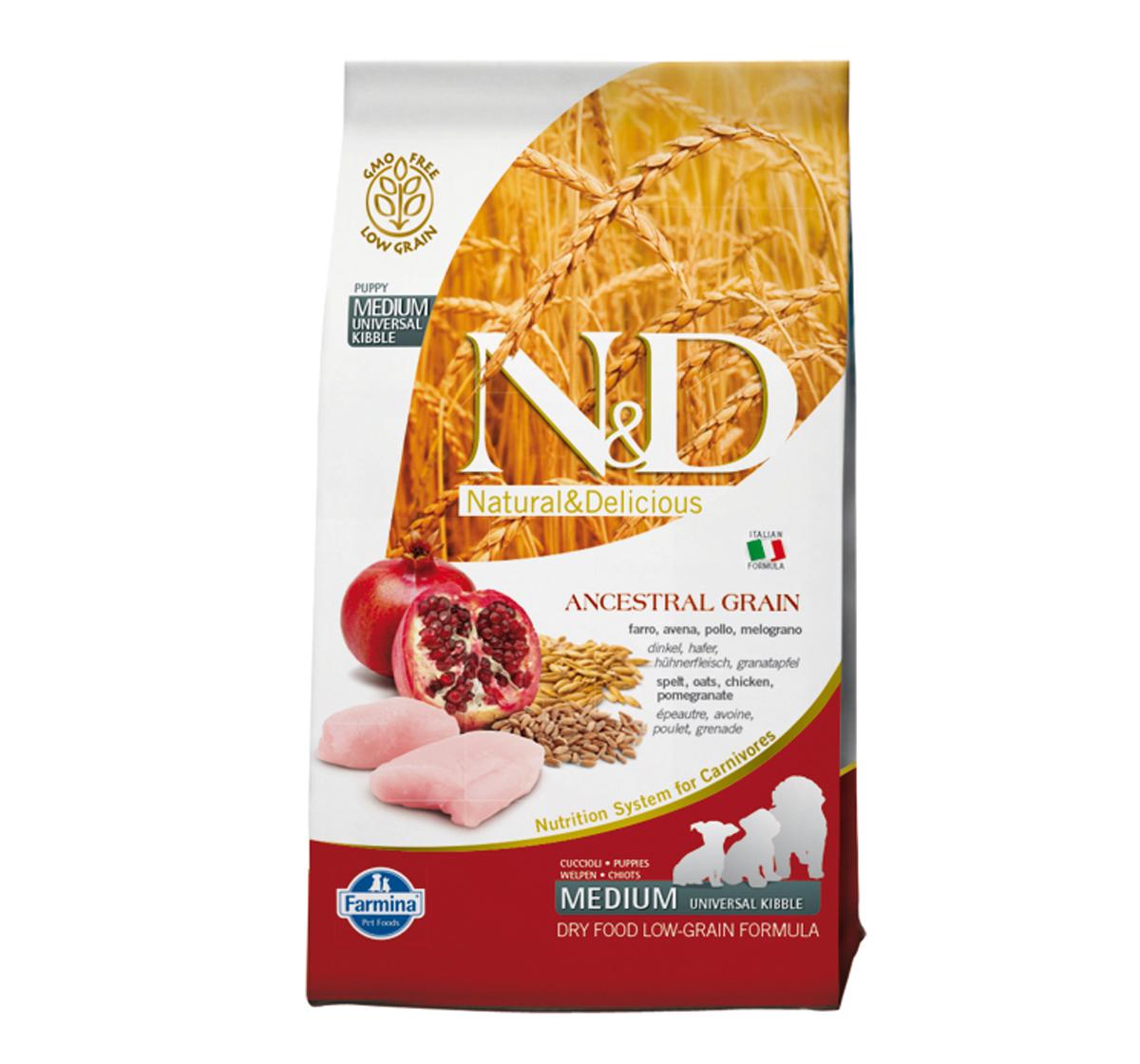 Farmina N&D Dry Dog Food Chicken & Pomegranate Puppy Medium Breed - 0.8 Kg