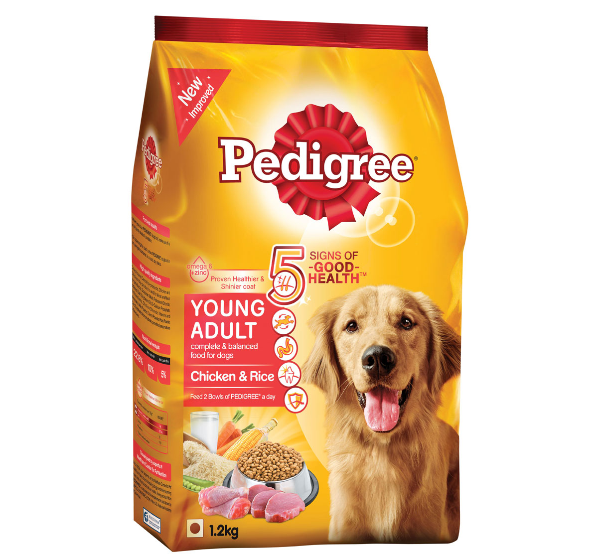 Pedigree Dog Food Young Adult Chicken And Rice 1 2 Kg