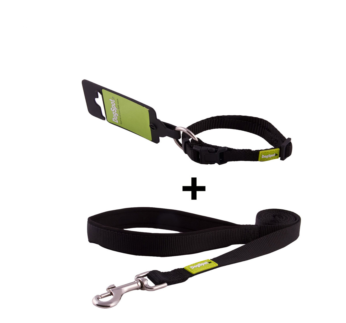 DogSpot Premium Leash and Collar Set Black 10 mm - Large