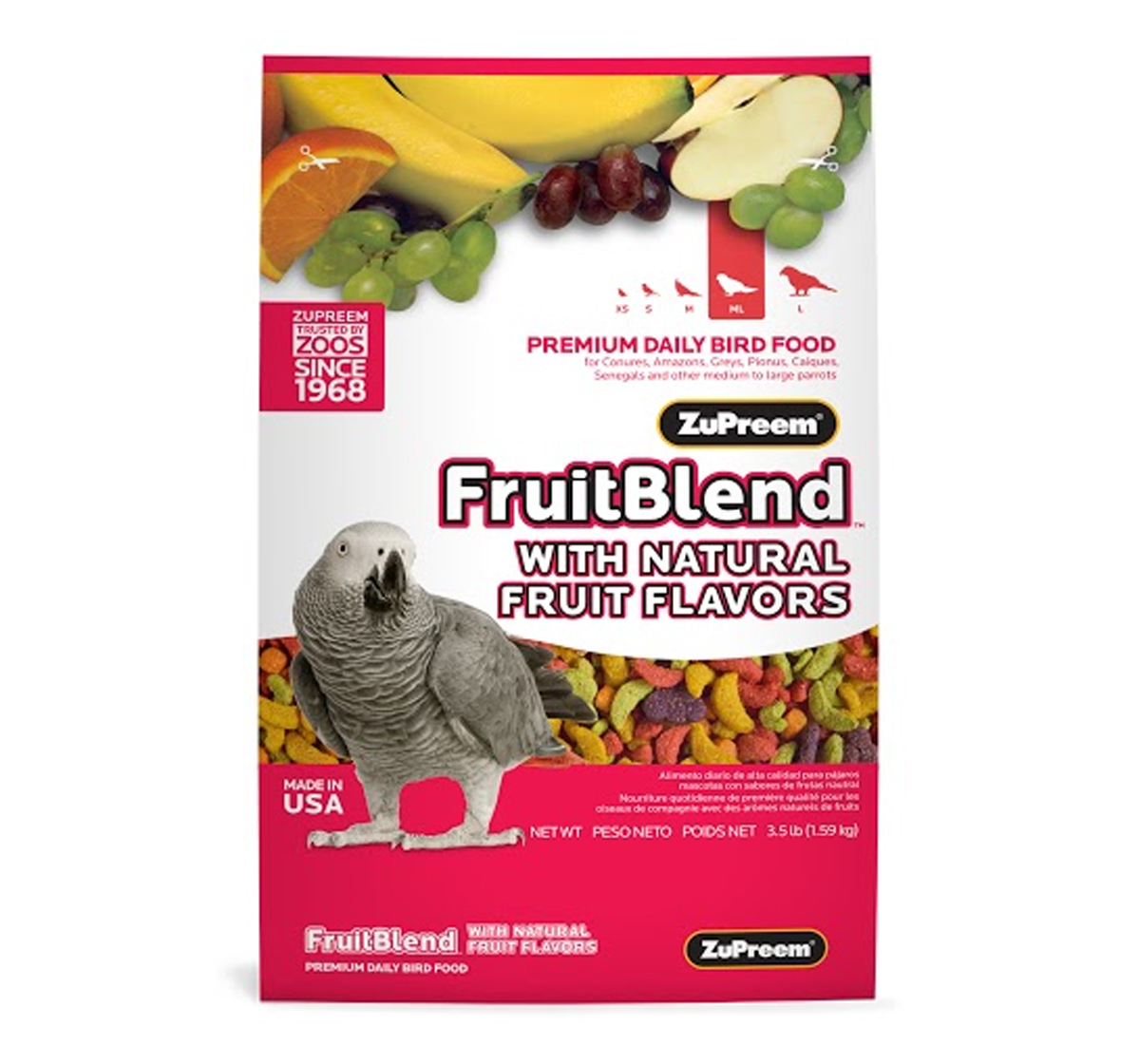 ZuPreem Fruit Blend For Medium & Large Parrot  - 1.58 Kg