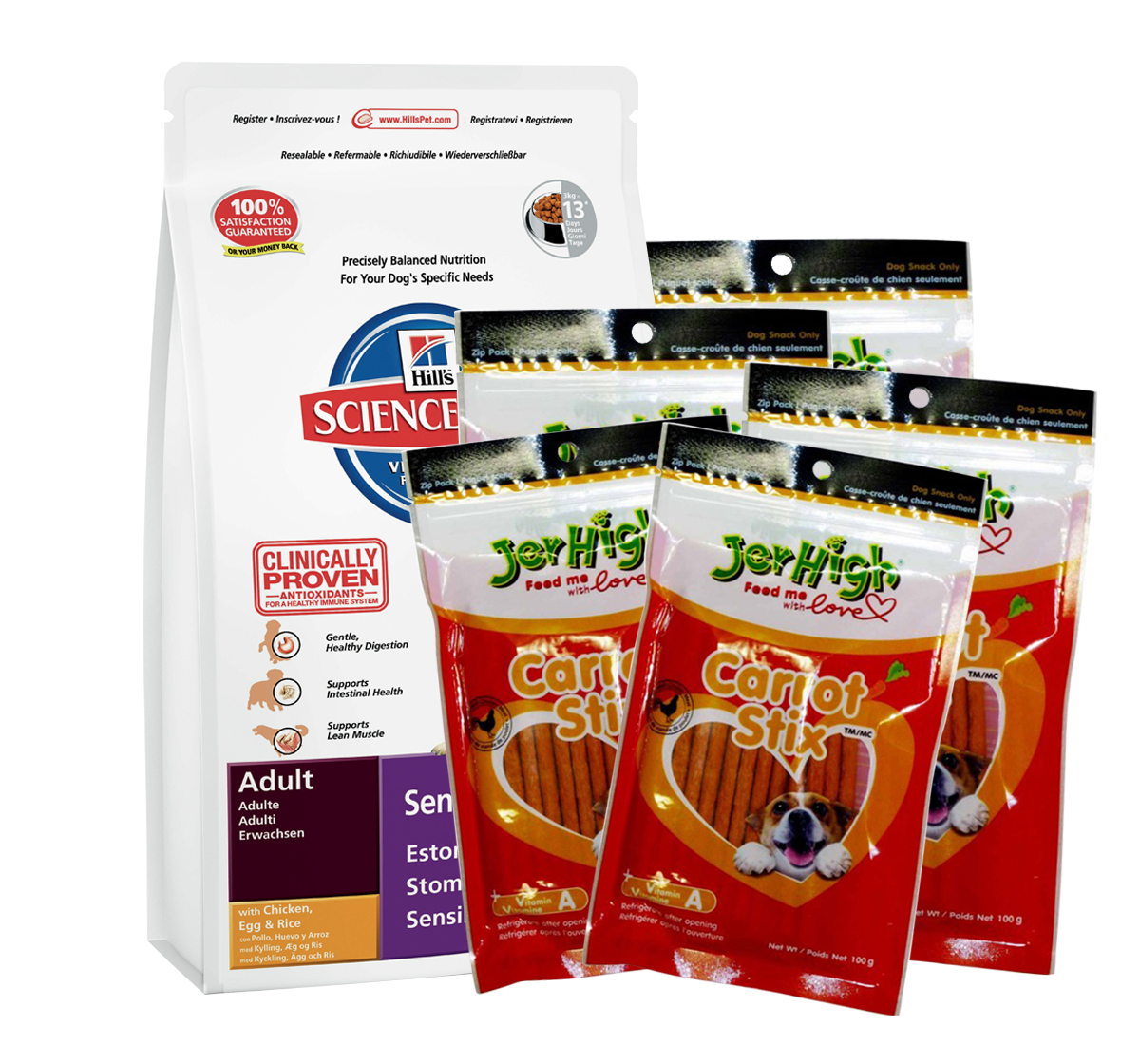 Hills Science Plan Canine Adult Sensitive Stomach Chicken - 3 KG With JerHigh Carrot Stick Dog Treats