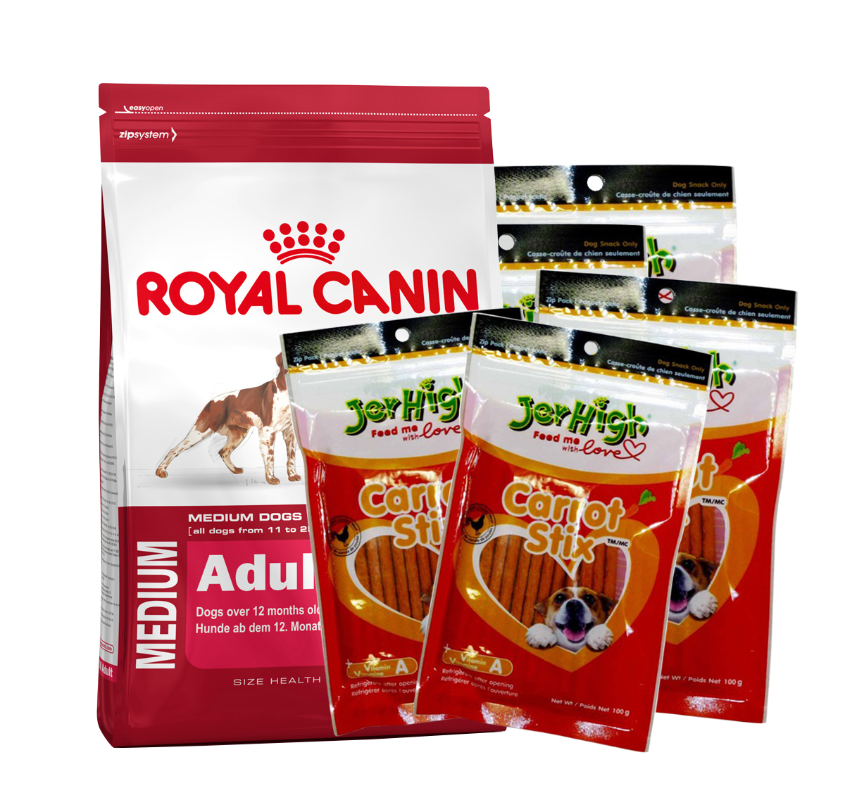 royal canin medium adult 4 kg with jerhigh carrot dog. Black Bedroom Furniture Sets. Home Design Ideas