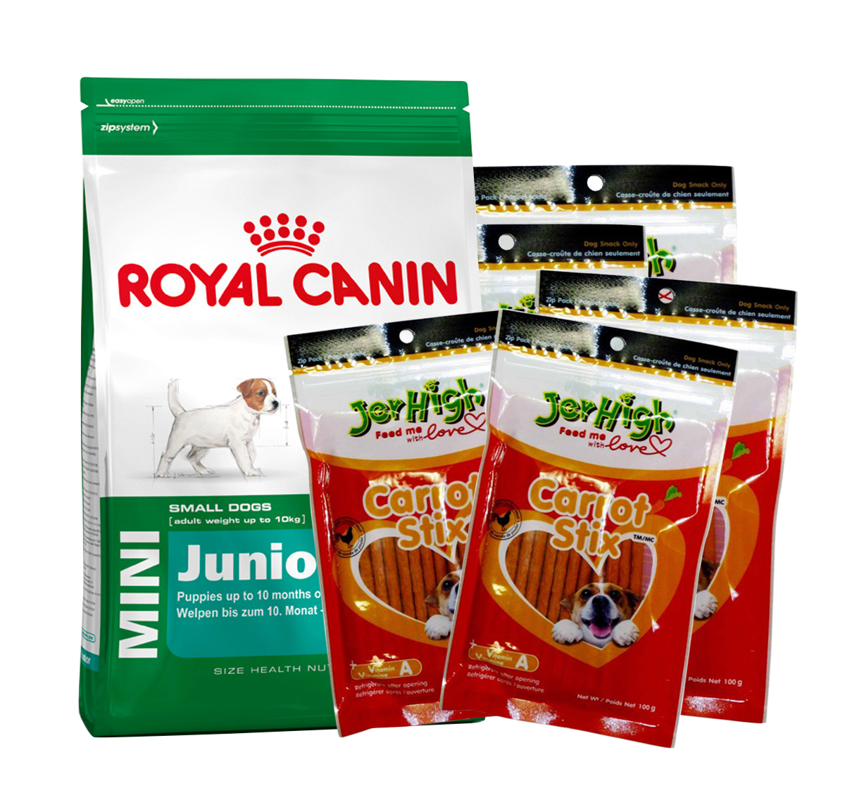 royal canin mini junior 4 kg with jerhigh carrot stick dog treats dogspot online pet. Black Bedroom Furniture Sets. Home Design Ideas