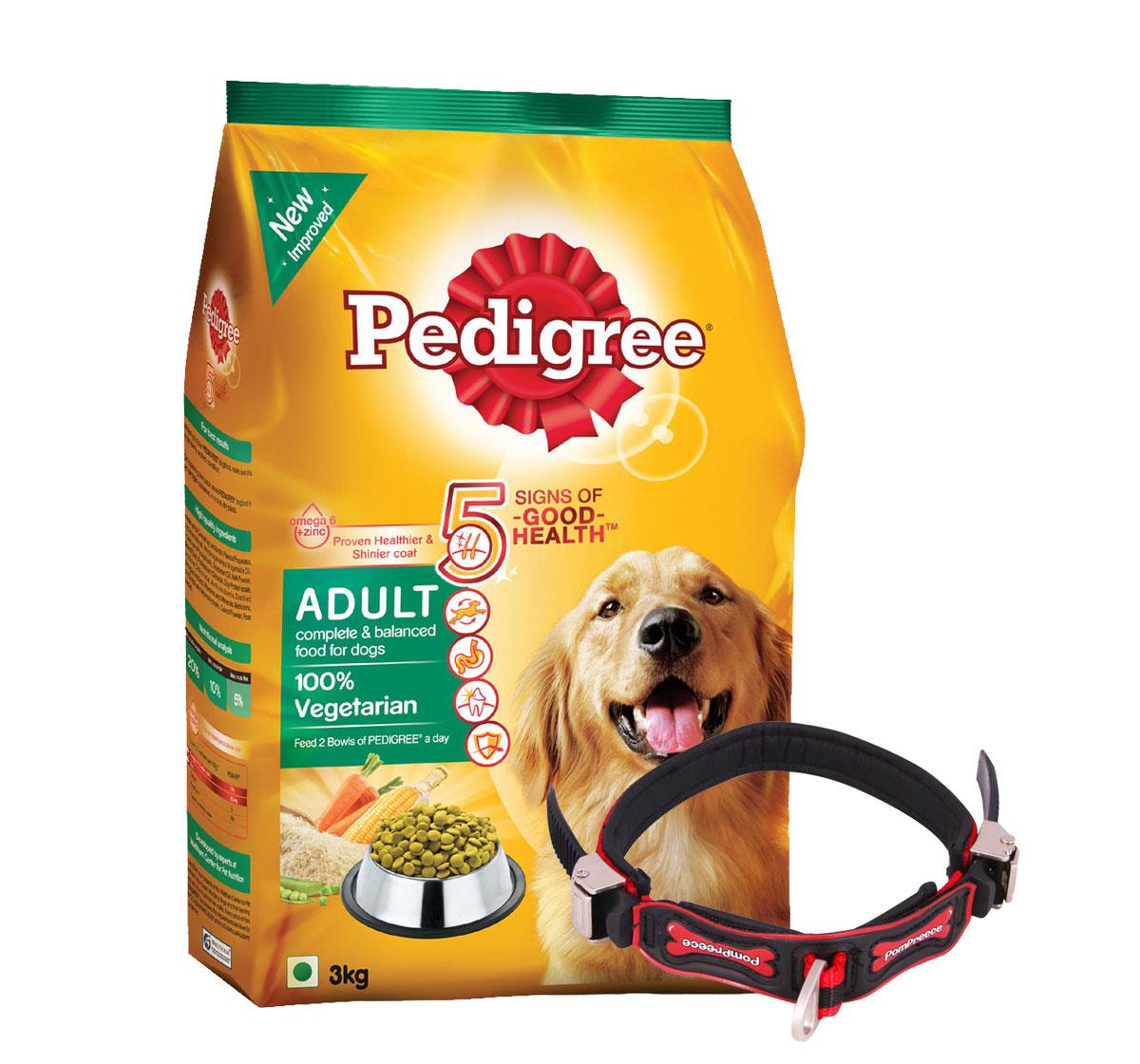 Pedigree Dog Food Adult 100% Vegetarian - 3 Kg With Ergocomfort Dog Collar Large-Red