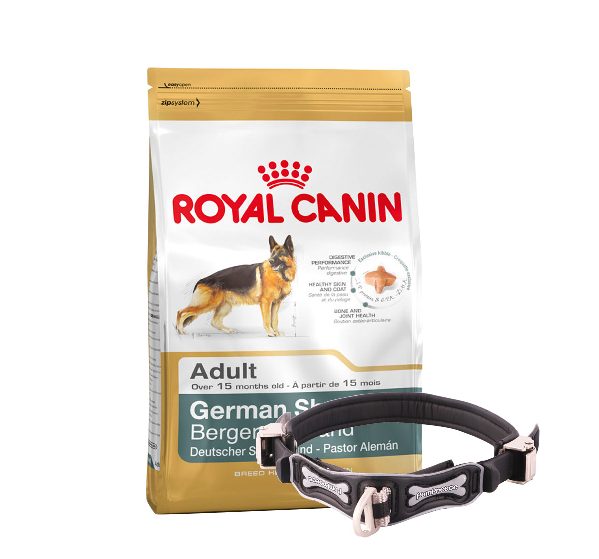 Royal Canin German Shepherd Adult - 3 Kg With Ergocomfort Dog Collar Large-Black