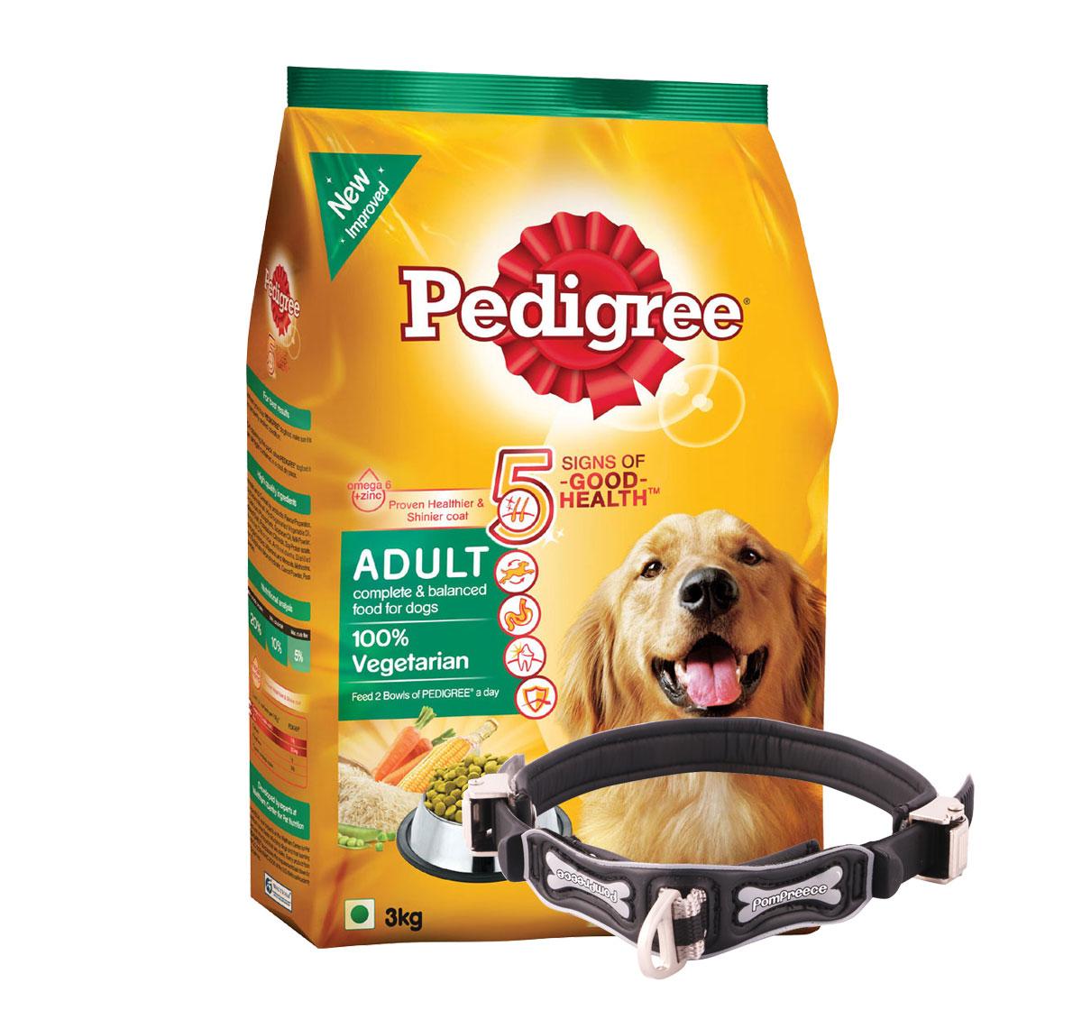 Pedigree Dog Food Adult 100% Vegetarian - 3 Kg With Ergocomfort Dog Collar Large-Black